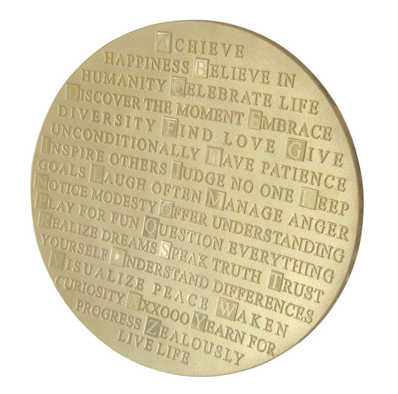 "ABC of Life Platter in Gold, 14"" by Schlanser Design Studio"