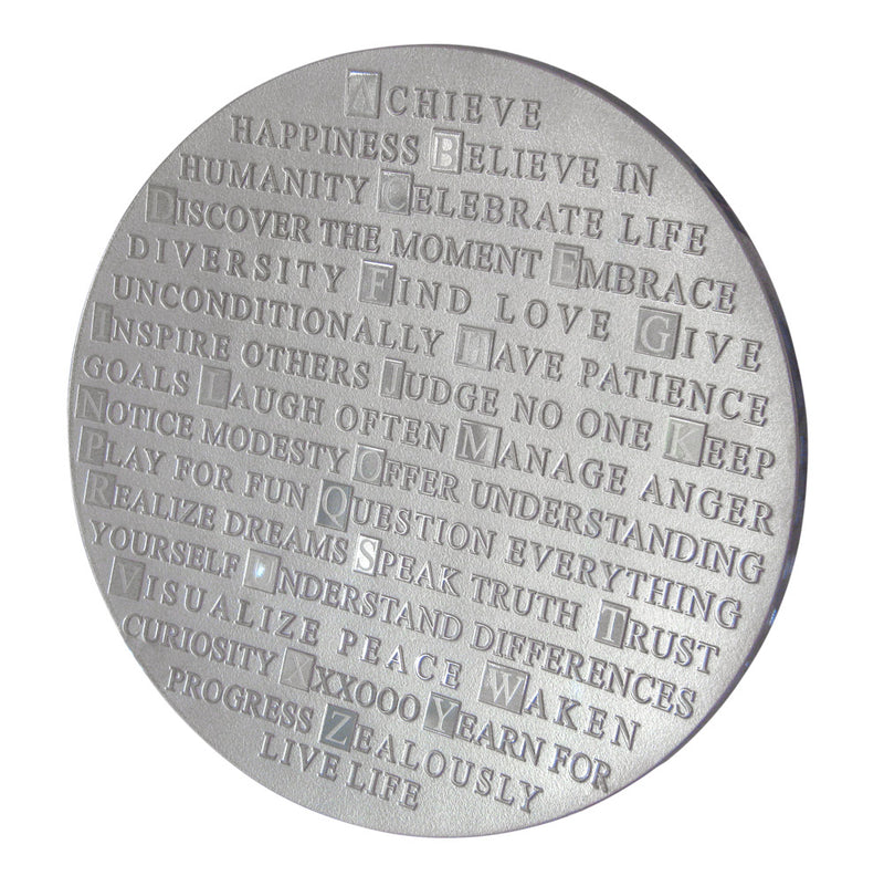 "ABC of Life Platter in Silver, 14"" by Schlanser Design Studio"