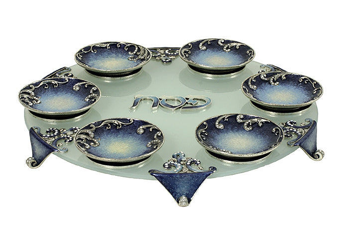 Seder Plate Blue by Quest Gifts