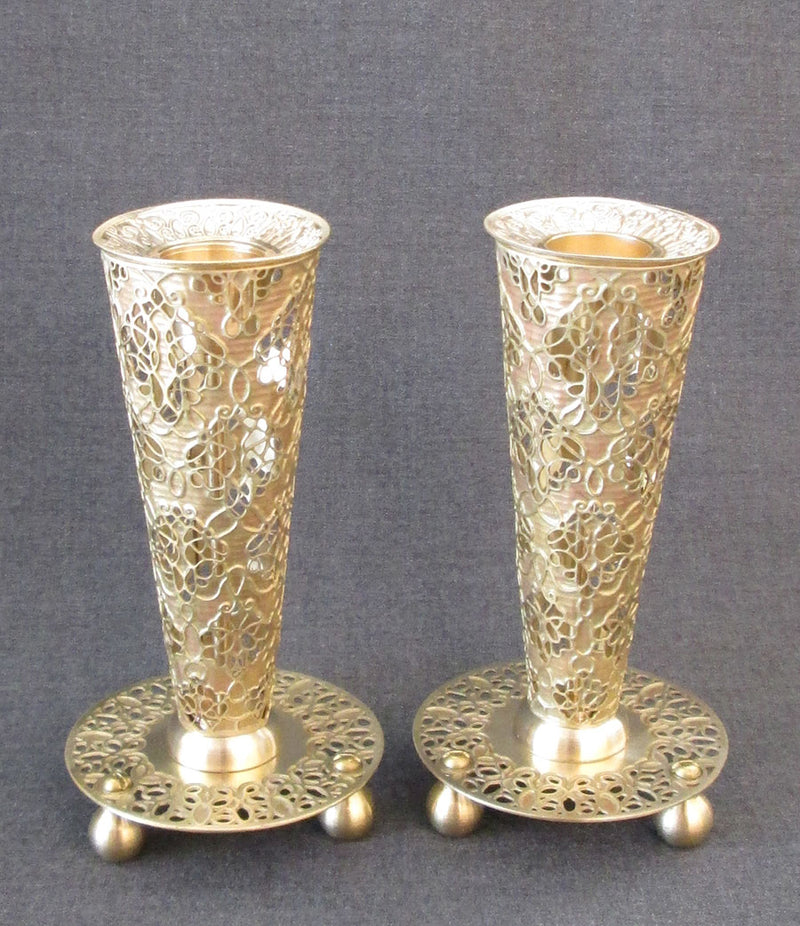 "Candlesticks - ""Flume"" Diamonds Leaves Brass in Gold by Orit Grader"