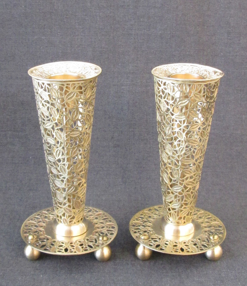 "Candlesticks - ""Flume"" Leaves Brass in Gold by Orit Grader"