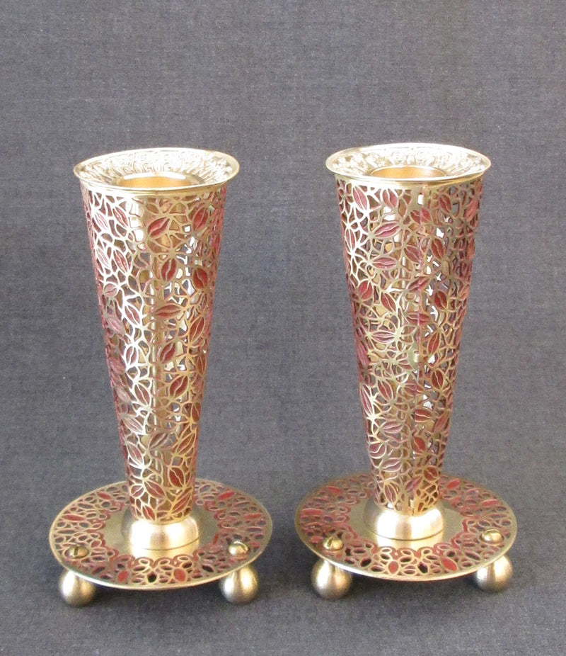 "Candlesticks - ""Flume"" Leaves Brass in Red by Orit Grader"