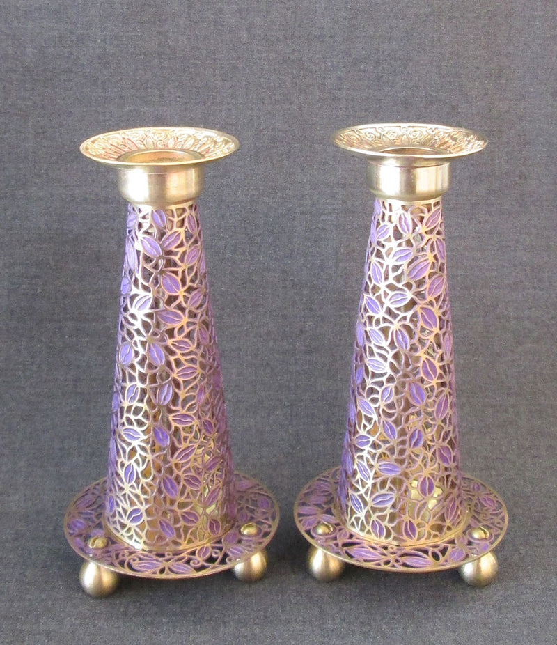 "Candlesticks - ""Fuji"" Leaves Brass in Purple by Orit Grader"