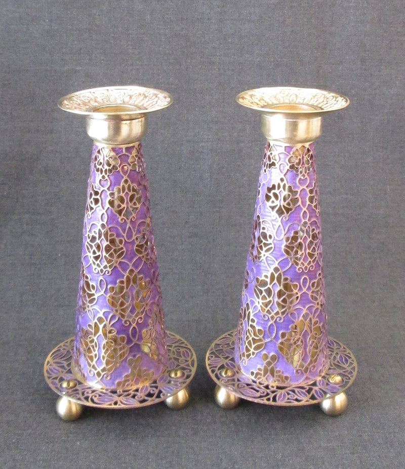 "Candlesticks - ""Fuji"" Diamond Brass in Purple by Orit Grader"