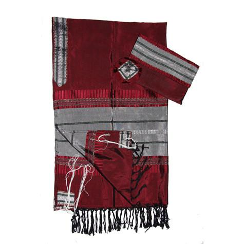 Gabrieli Silk Tallit - Dark Red