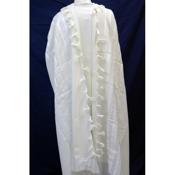 Mishkan Hatchelet White Wool Tallit with Silver Embellishment