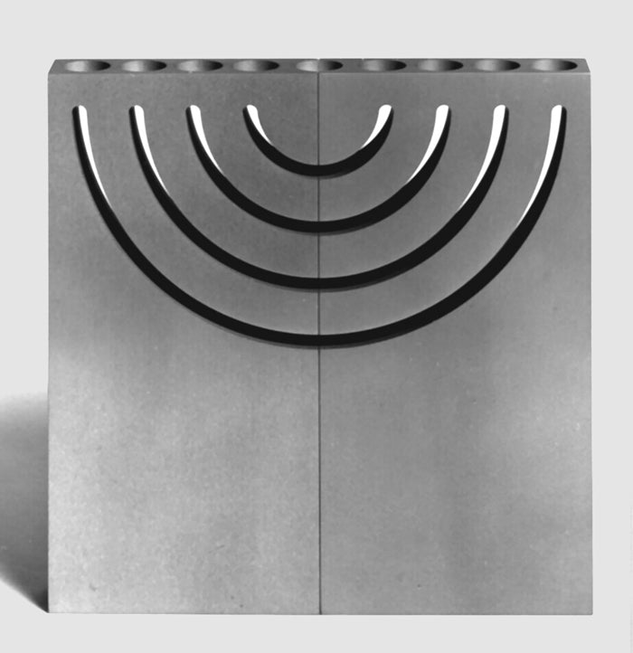 Split Image Shabbat Candlesticks, Menorah and Sculpture by Emil Shenfeld
