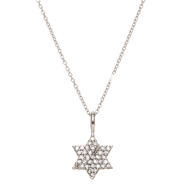 Star of David, 14k White Gold with Diamonds, Solid by Alef Bet