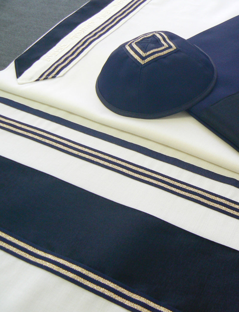 Men's Traditional Wool Tallit Set by Eretz Judaica