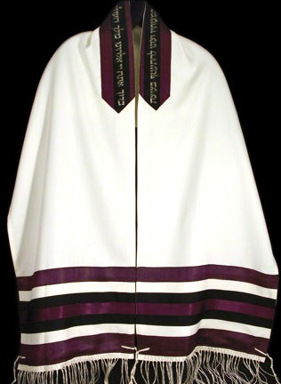 Men's Tallit Purple and Black Stripes - 2511 by Reeva