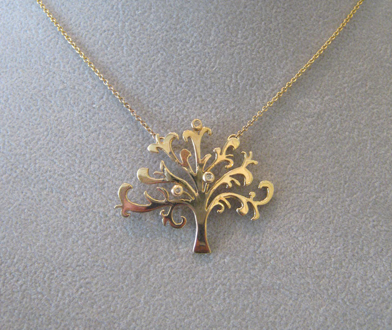 Tree of Life Necklace in Gold with Diamonds by Aimee Golant