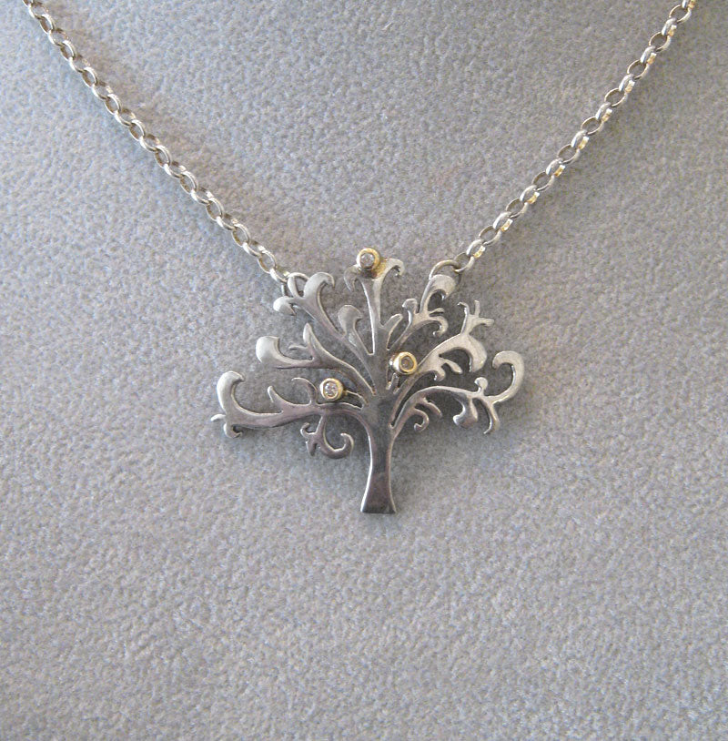 Tree of Life Necklace in Sterling Silver with Diamonds by Aimee Golant