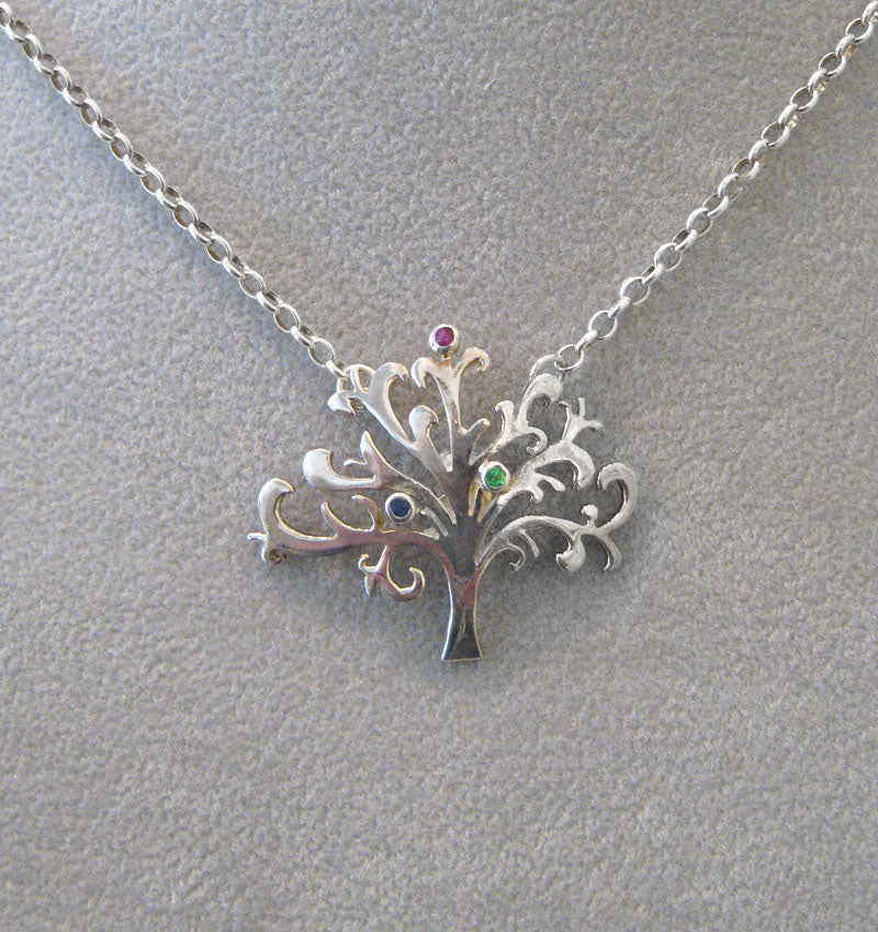 Tree of Life Necklace in Sterling Silver with Stones by Aimee Golant