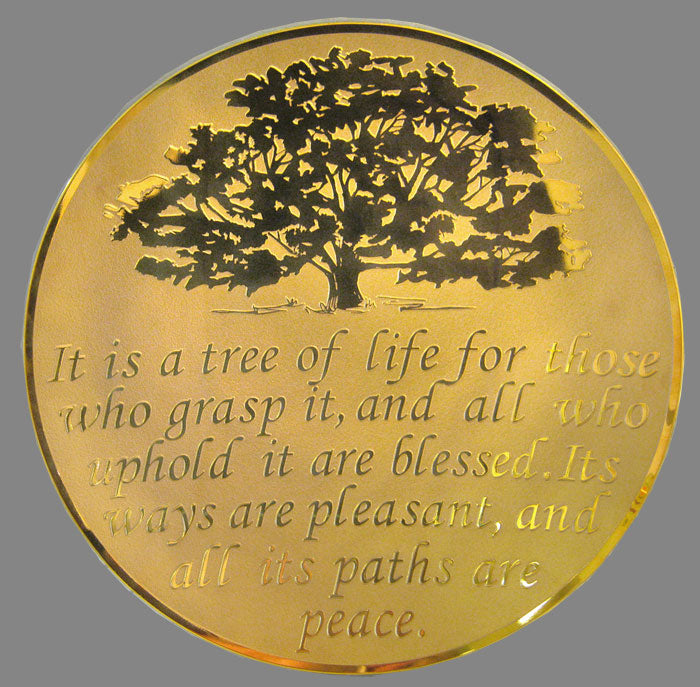 Tree of Life Glass Platter Gold by Schlanser
