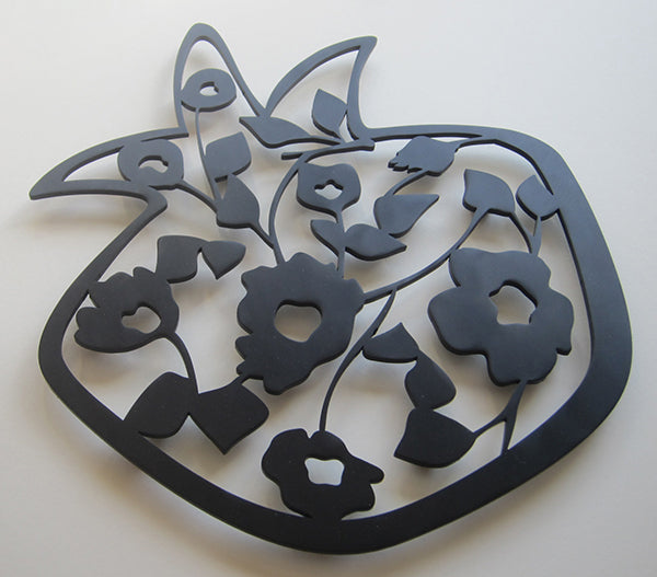 Trivet- Large Pomegranate Black by Melanie Dankowicz