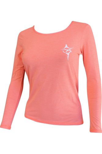 Ladies Classic Performance Scoop Neck Coral - Carpe Diem Fishing Apparel