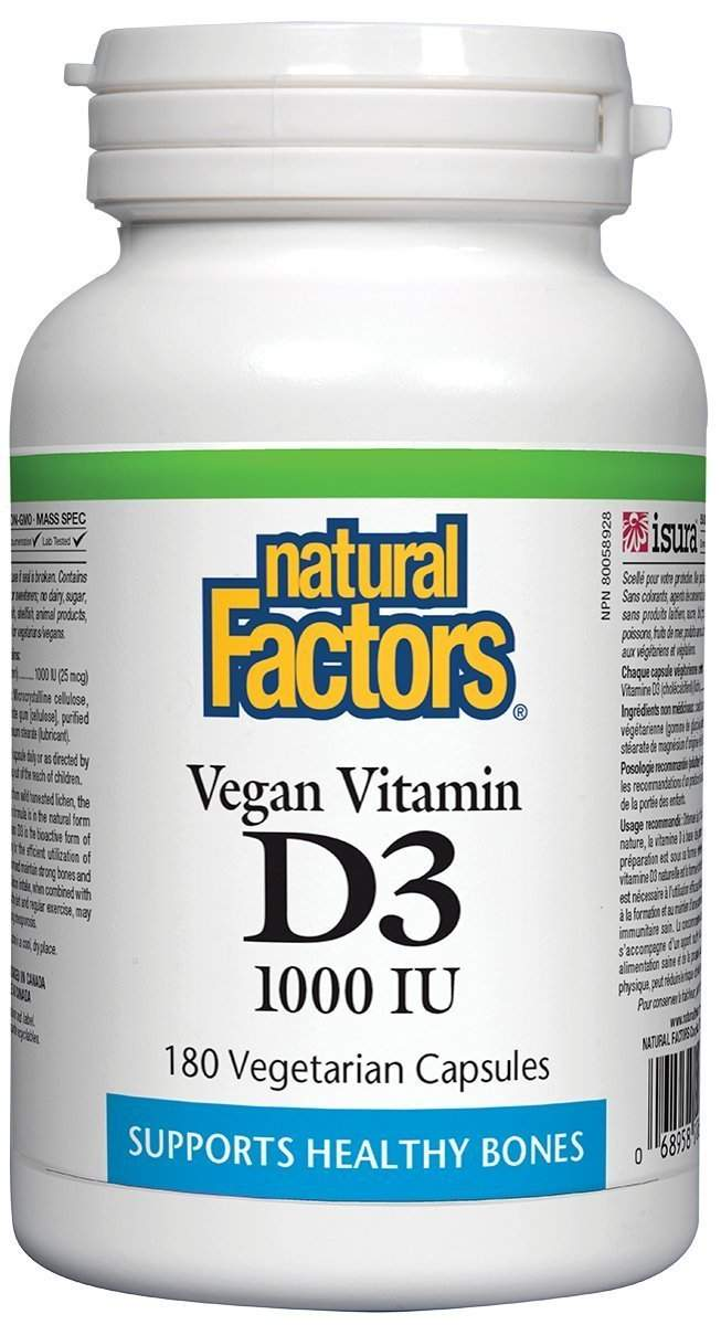 Natural Factors Vegan Vitamin D3 1000 IU - 180 Veg Caps