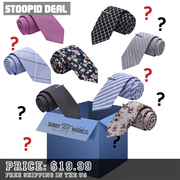 Mystery Set of 6 Skinny Ties - Stoopid Deals