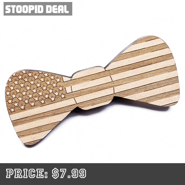American Flag Wooden Bow Tie - Stoopid Deals