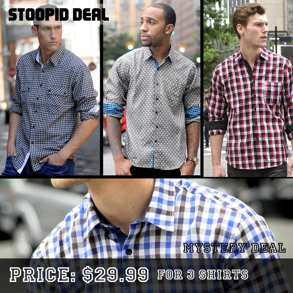 3 Random Long Sleeve Shirts - Stoopid Deals