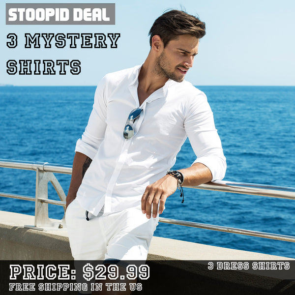3 Mystery Dress Shirts - Stoopid Deals