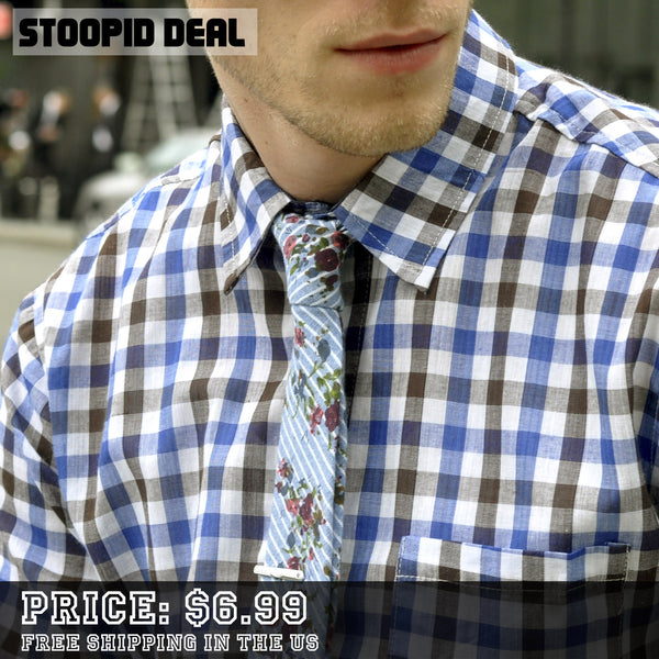 Floral Striped Tie + Tie Clip - Stoopid Deals