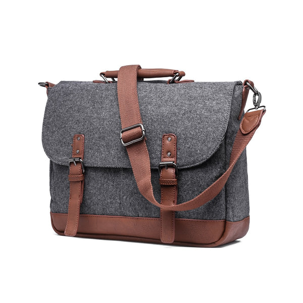 Wool Messenger Bag with Padded Laptop Pouch - Stoopid Deals