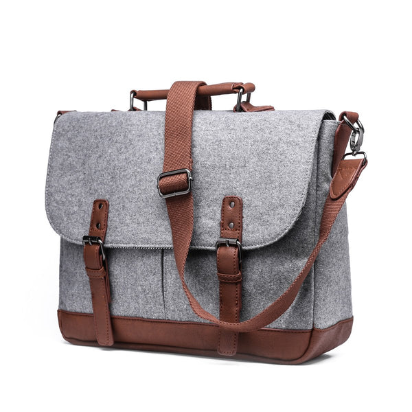 Light Grey Messenger Bag with Padded Laptop Holder - Stoopid Deals
