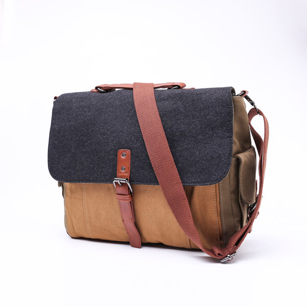 Tri-Color Canvas Messenger Bag - Stoopid Deals