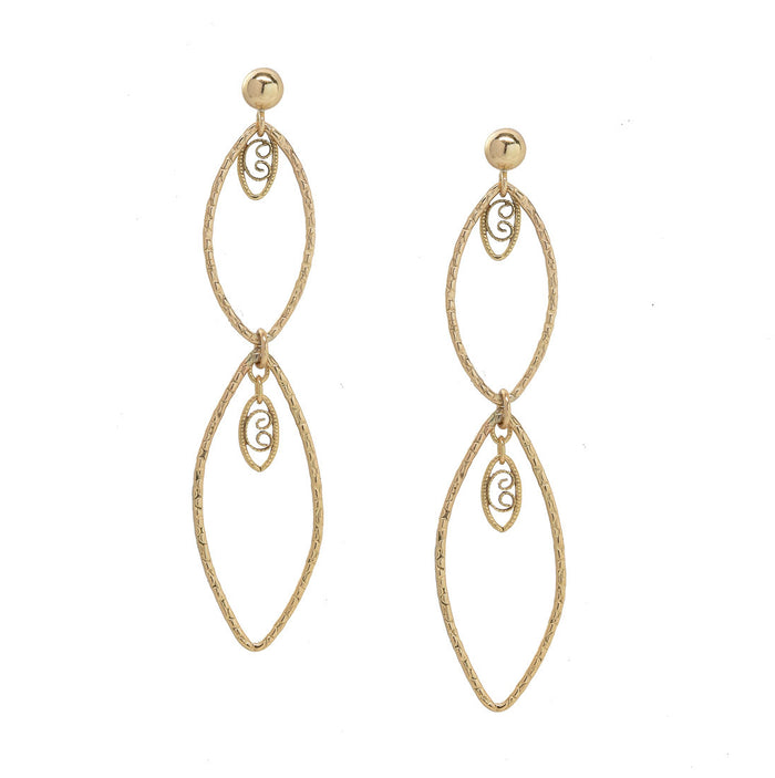 Earrings gold cascading chandelier studs elegant fancy versatile wedding boho chic simple gift explore wanderlust jewelry