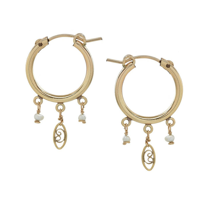 gold pearl charm hoops simple everyday wear versatile day to night delicate