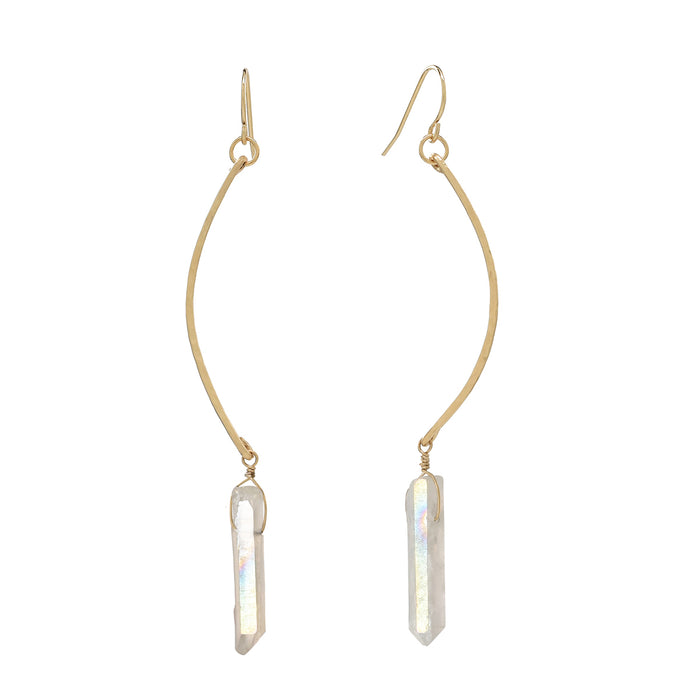 crystals earrings simple long elegant gold bridesmaid gifts bridal jewelry