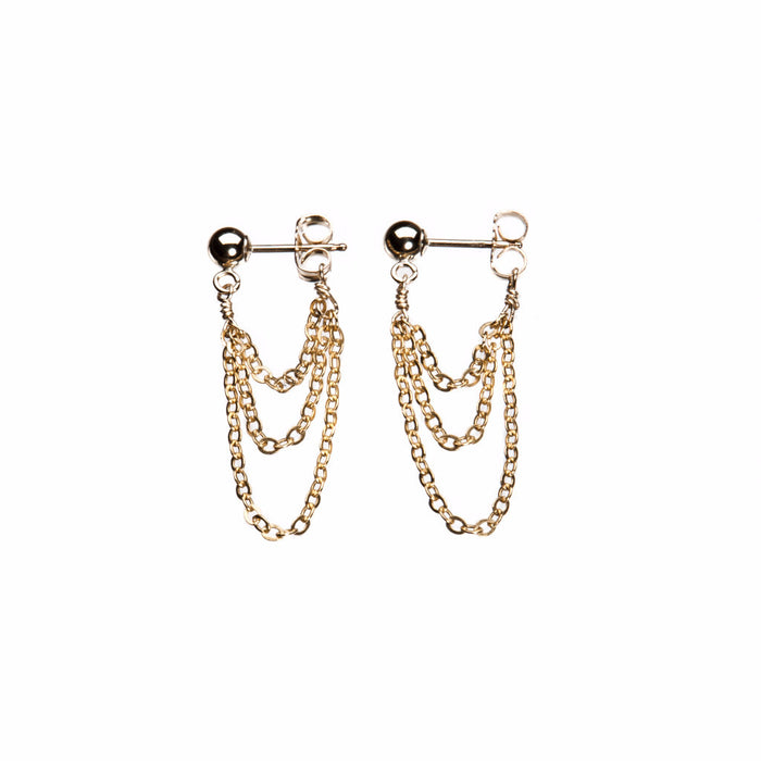 hanging chain gold stud earrings