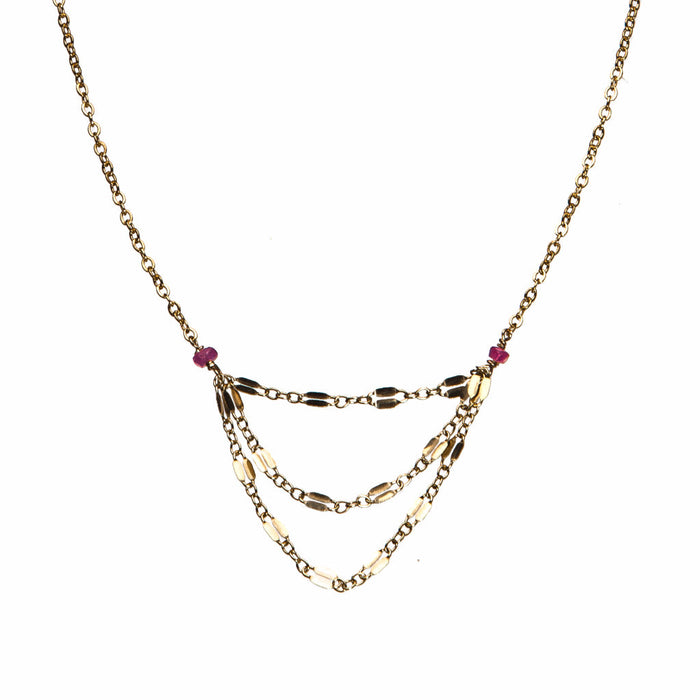 Gold filled adjustable ruby simple versatile layer necklace