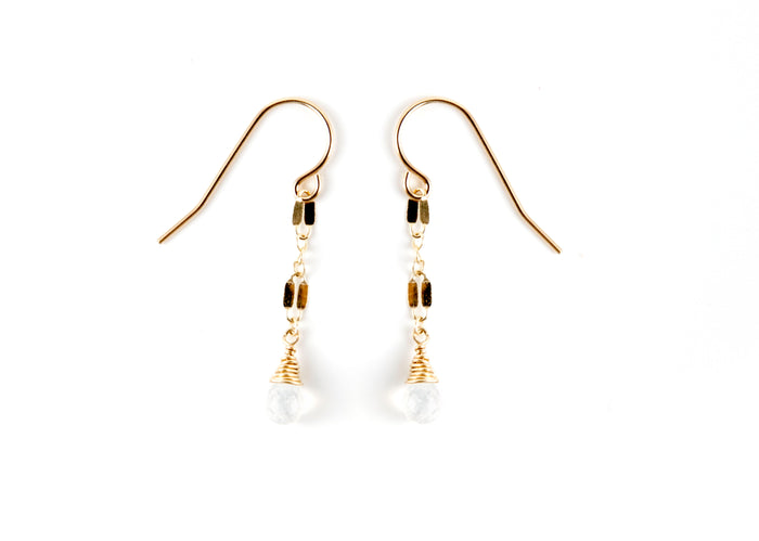 14 kt gold earrings dangles chic simple gift birthday free people handmade usa made boho simple refined adventurous