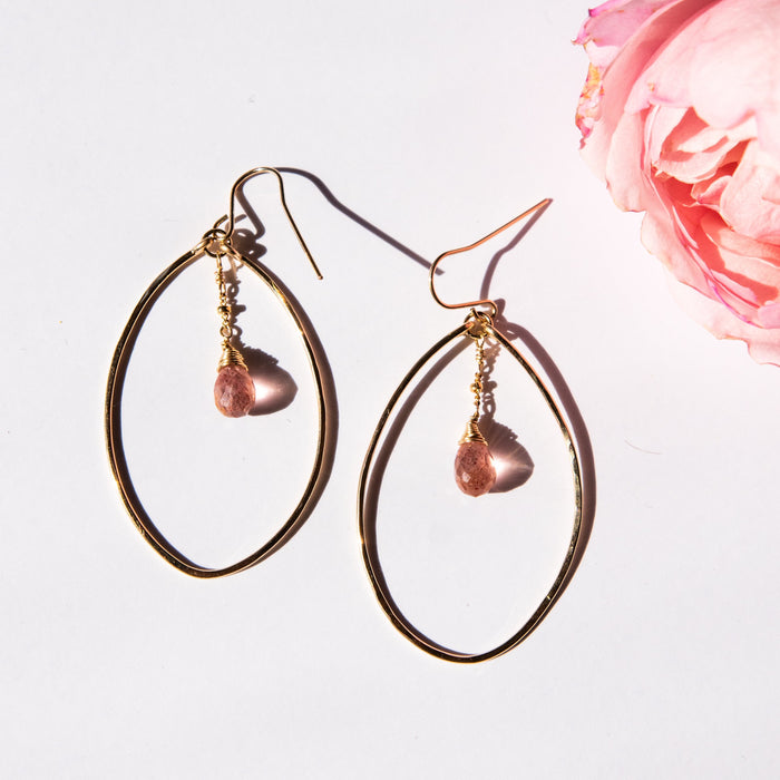 Strawberry Quartz Nimah Hoops