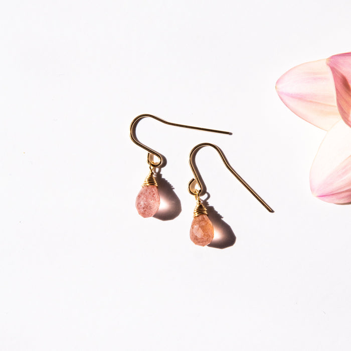 Dainty Strawberry Quartz Bree Earrings
