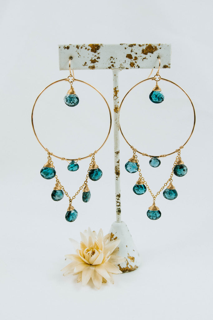Indigo Waterfall Hoops
