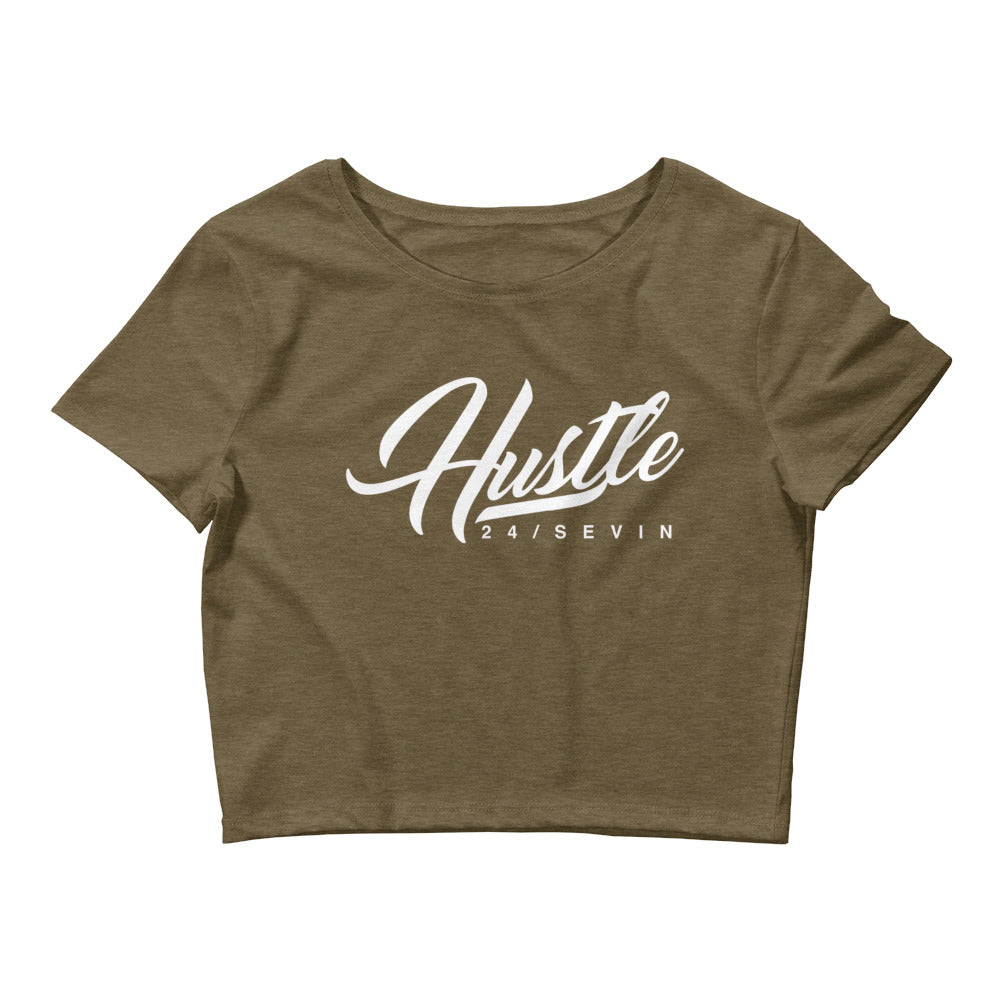 Women's Hustle 24 Sevin white print Crop Tee