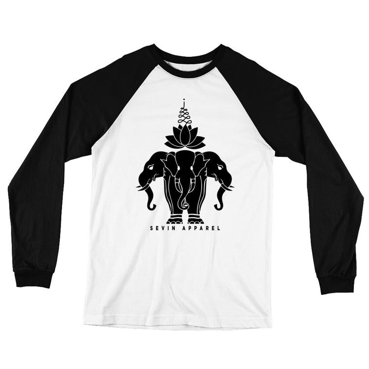 Lotus Elephant Long Sleeve Baseball T-Shirt