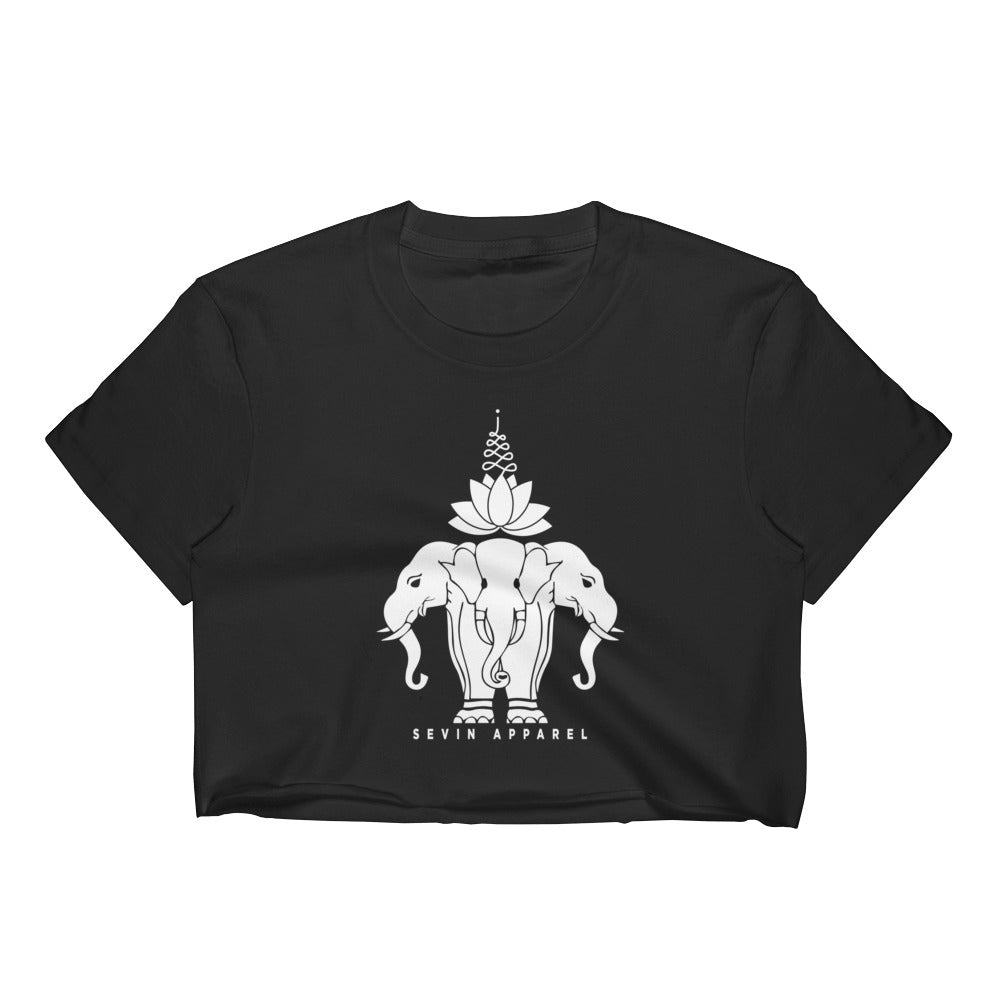 Women's Lotus Elephant Crop Top Black