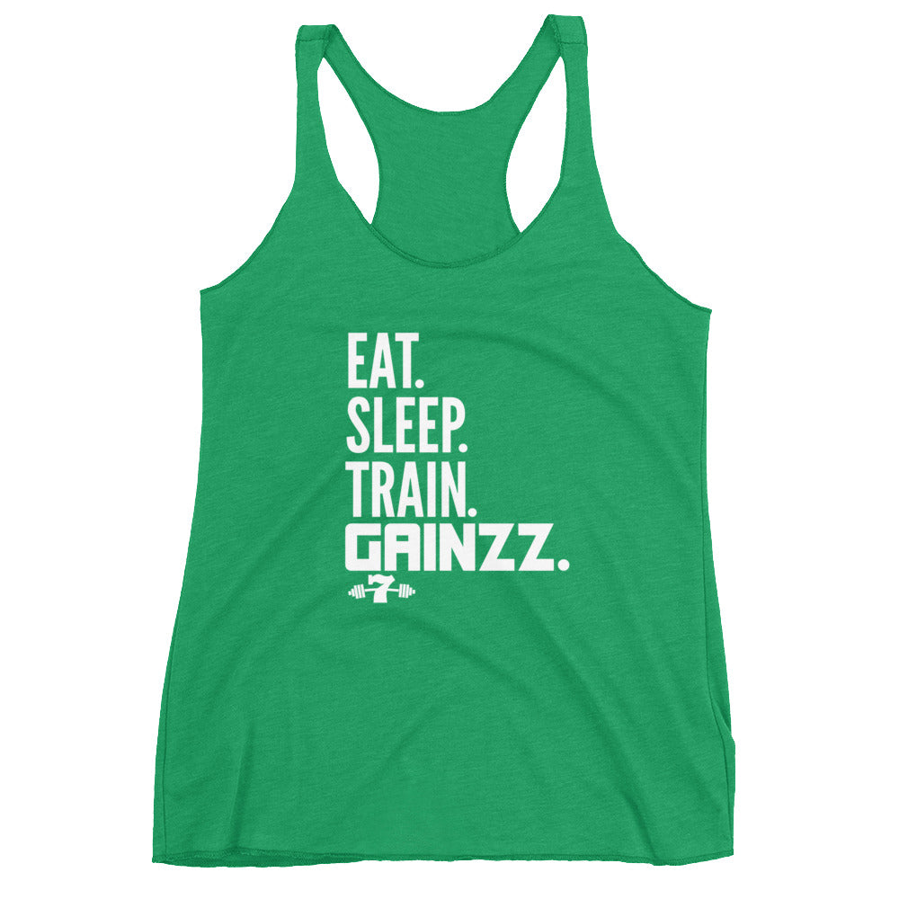 Women's Eat sleep train gains tri blend Racerback Tank