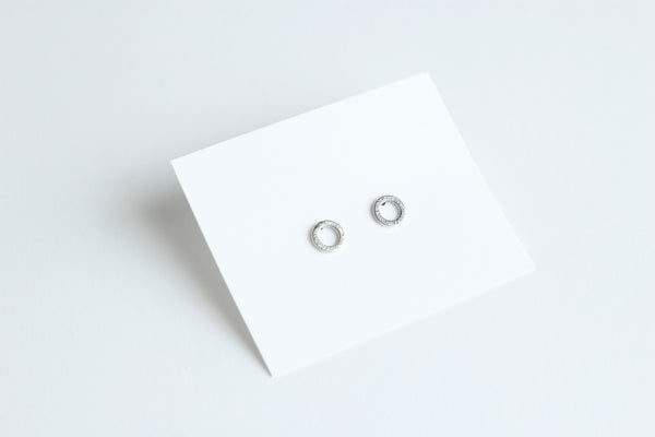 Texture circle silver studs II