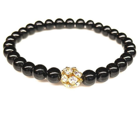 Black Jade Gemstone Stretch Bracelet