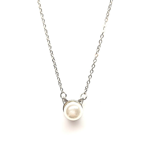 Cat Pearl Pendant Necklace | 18"