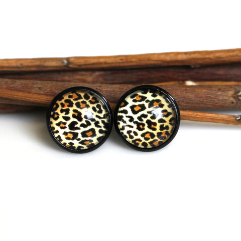 Leopard Print Stud Earrings | 12mm | Black