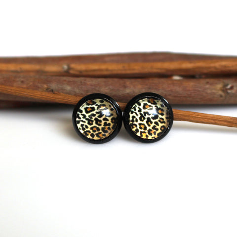 Leopard Print Stud Earrings | 8mm | Black