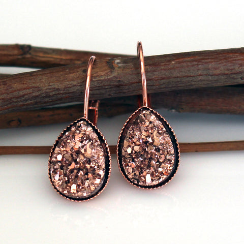 Rose Gold Faux Druzy Teardrop Leverback Earrings | Rose Gold