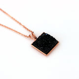 Black Faux Druzy Square Pendant Necklace | 17"