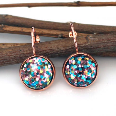 Unicorn Glitter Leverback Earrings | 12mm | Rose Gold
